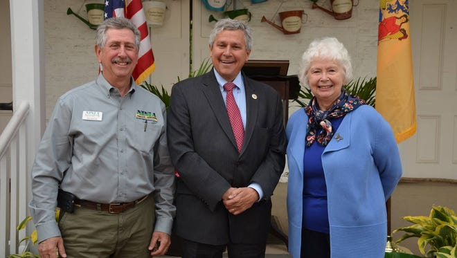 Pictured from left: Bob Heitzman, president, NJ Nursery & Landscape Association; State Sen. Kip Bateman; and Jeannie Geremia, vice president, Garden Club of NJ.