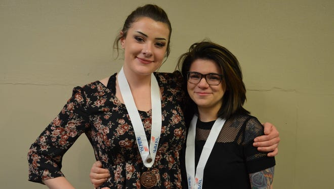 Delaney Fleming, pictured left, took home 3rd place in the esthetics category, and Kendra Szikura, pictured right, took home 1st place in the esthetics (post-secondary) category and gained entry to the national competition