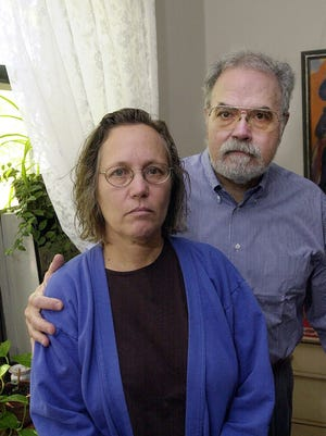 Phyllis and Orlando Rodriguez in their White Plains apartment on Sept. 19, 2001, shortly after releasing an open letter to President Bush.