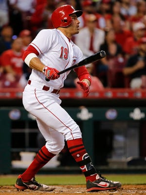 Cincinnati Reds first baseman Joey Votto (19) doubles in the sixth inning during the interleague baseball game between the Cleveland Indians and the Cincinnati Reds, Monday, May 22, 2017, at Great American Ball Park in Cincinnati.