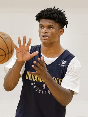 Missouri State's Alize Johnson at the Indiana Pacers pre-draft workout at the St. Vincent's Center on Friday, June 8, 2018.