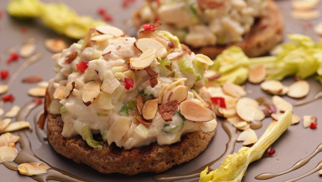 The Open-Faced Honey-Almond Chicken Salad sandwiches from Chef Amy Barnes of Sweet Basil, as seen in Scottsdale on June 1, 2015.