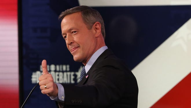 Former Maryland Gov. Martin O'Malley, Saturday, Nov. 14, 2015, during the Democratic presidential debate in Des Moines, Iowa, at Sheslow Auditorium on the campus of Drake University.