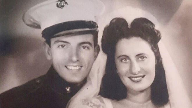 Bill and Jill Caldarone at their Rhode Island wedding in 1944, while he was on three-day leave during WWII.