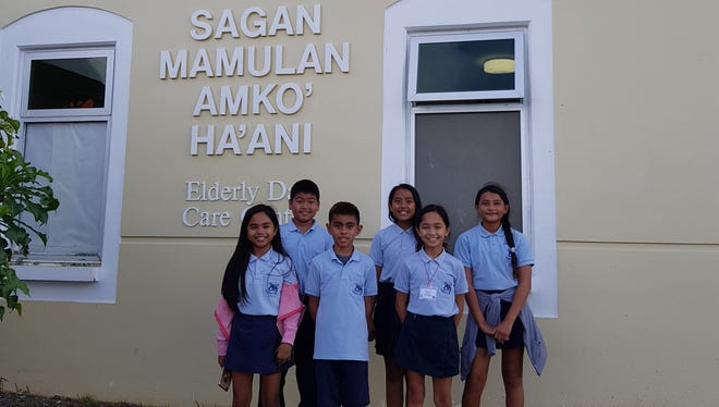 Members of the Juan M. Guerrero Elementary School National Elementary Honor Society (NEHS) donated two turkeys on Nov. 20 to the Catholic Social Services: Elderly Day Care Center. Pictured from left: Ella Escalera, Josh Woodard, Ethan Manlangit, Eyana Duenas, Jessani Leon Guerrero, Jayna Rose Cruz.