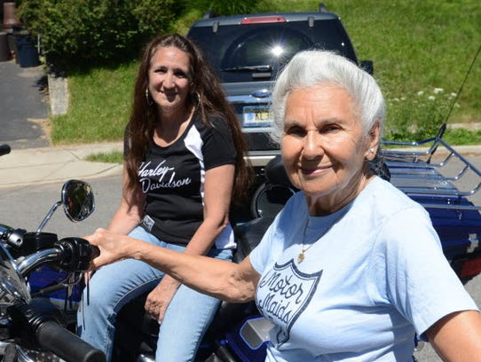 Gloria Struck on her Harley with her daughter Lori DeSilva in the back, seen in 2014 when Gloria was nearly 89 and preparing to ride with her daughter to the Sturgis rally in North Dakota.