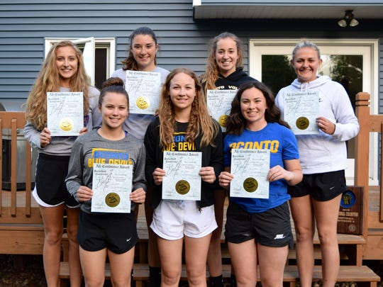 Members of the Oconto High School softball team receiving All-Conference recognition were, from left, front row: Hallie Wusterbarth (1st Team Infield), Hannah Wusterbarth (1st Team Infield) Morgan Durand (1st Team Catcher); back row: Ellen Sohrweide (1st Team outfield) Sydney Koch (2nd Team Outfield), Lauryn Nerenhausen (2nd Team Outfield), Mackenzie Honish (1st Team Pitcher).