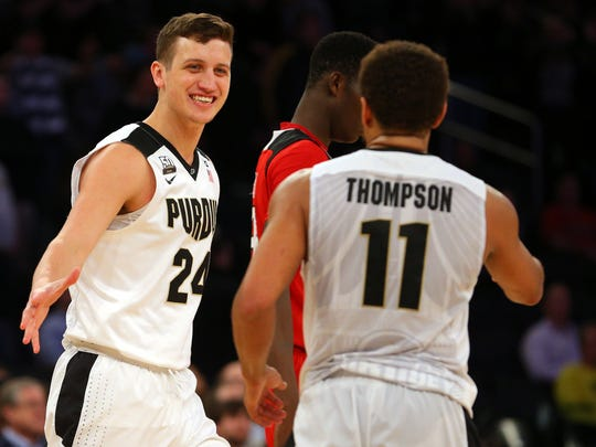 Mar 2, 2018; New York, NY, USA; Purdue Boilermakers forward Grady Eifert (24) and Purdue Boilermakers guard P.J. Thompson (11) react during the second half of a quarterfinal game of the 2018 Big Ten Conference tournament against the Rutgers Scarlet Knights at Madison Square Garden. Mandatory Credit: Brad Penner-USA TODAY Sports