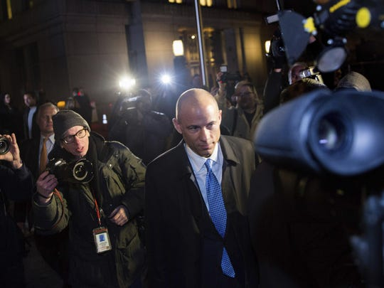 Attorney Michael Avenatti leaves Federal Court after his initial appearance in an extortion case Monday, March 25, 2019, in New York. Avenatti was arrested Monday on charges that included trying to shake down Nike for as much as $25 million by threatening the company with bad publicity.