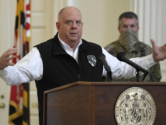 Maryland Gov. Larry Hogan speaks at a news conference in Annapolis, Md., on Friday.