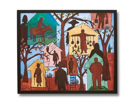 "Leonard Piha, ""Yard Friend,"" 2018, acrylic on wood,"