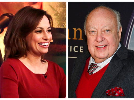 "In this combination photo, Fox contributor Julie Roginsky, left, appears on ""The Five"" television program, on the Fox News Channel on March 30, 2015, in New York and then Fox News head Roger Ailes attends a special screening of ""Kingsman: The Secret Service"" on Feb. 9, 2015 in New York. Roginsky said that a promised position on the Fox show ""The Five"" never happened after she rejected Ailes' sexual advances. In a complaint filed in New York state Supreme Court on Monday, April 3, 2017, Roginsky said she was pressured to defend Ailes when Gretchen Carlson filed the initial harassment complaint against him but that she refused."