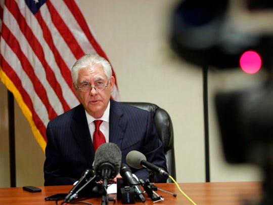 Secretary of State Rex Tillerson speaks during a news