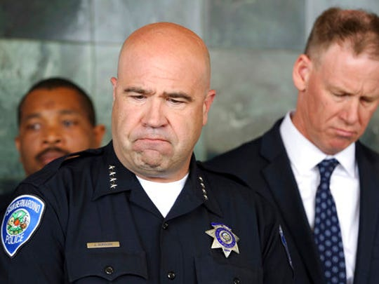 San Bernardino Police Chief Jarrod Burguan, left, and