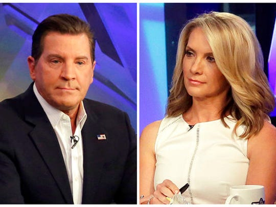"""FILE - In this combination photo, Fox News personalities Eric Bolling, left, and dana Perino appear on """"The Five,"""" program  on July 22, 2015 in New York. Fox News Channel expects Bill O'Reilly back from his vacation on April 24, ready to resume his position as cable television news' most popular host. But given advertiser defections and swirl of stories about payouts to five women to keep harassment allegations quiet, it's impossible to dismiss the idea that he may lose his television home for the past two decades. Replacements candidates could include Bolling, left, and Perino."""