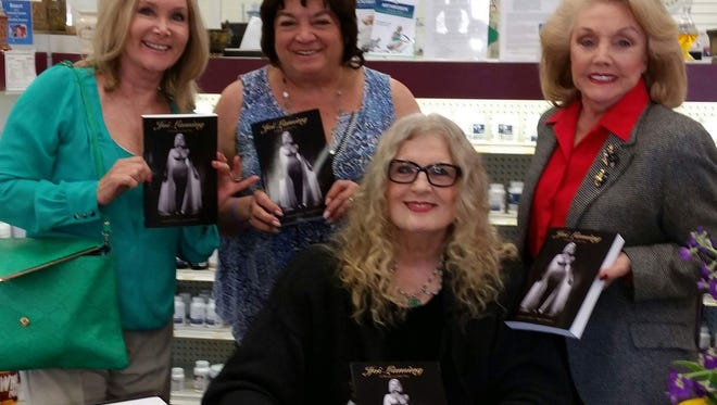 """Among the 200 supporters at a book signing for """"Joi Lansing – A Body to Die For"""" were (from left) L to R:  Elaine Church, Carol Teitelbaum,  author Alexis Hunter, and Peggy Cravens."""