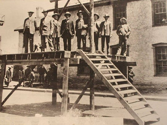 Sheriff John Owen, who was sheriff for several years in the early 1900s, is one of the men on the gallows erected in 1907, but the convicted killer escaped.