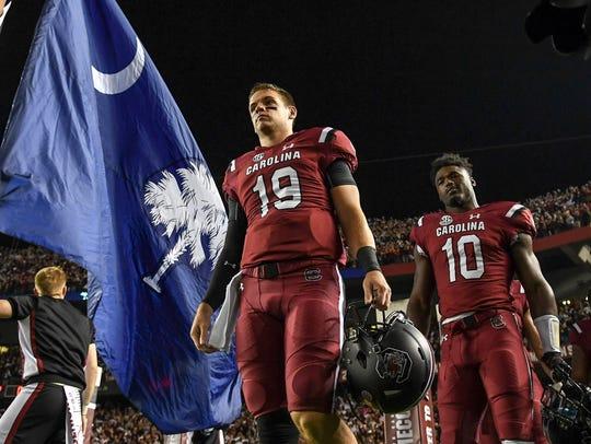 South Carolina quarterback Jake Bentley(19) and South