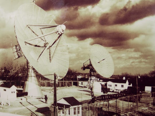 A photo of the satellite dishes at Camp Evans in Wall from the 1960s while they were in operation.