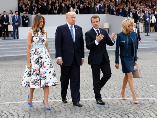 Pictured with (left to right) her husband, President