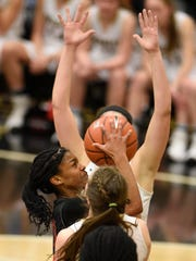 Stewart Creek's Lauren Flowers (20) puts up a shot during Saturday's Class AAA Sectional at Bradley Central.