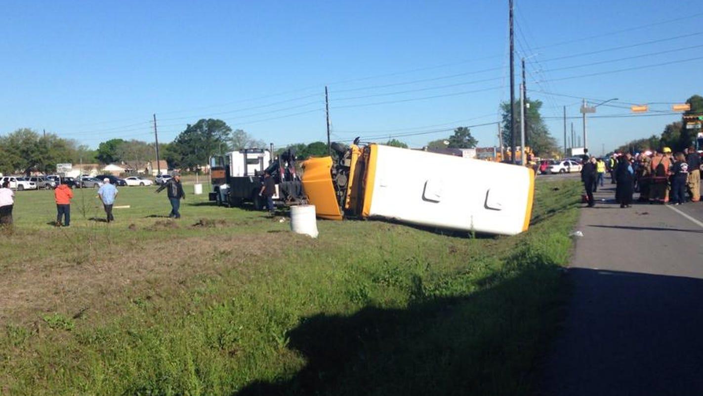 Driver Kids Taken To Hospital After School Bus Flips In