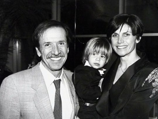 Sonny Bono appears with his son, Chesare, and wife,