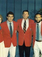 President Ronald Reagan and his wife, Nancy, meet with Mark (second from left) and Dave Schultz in 1984.