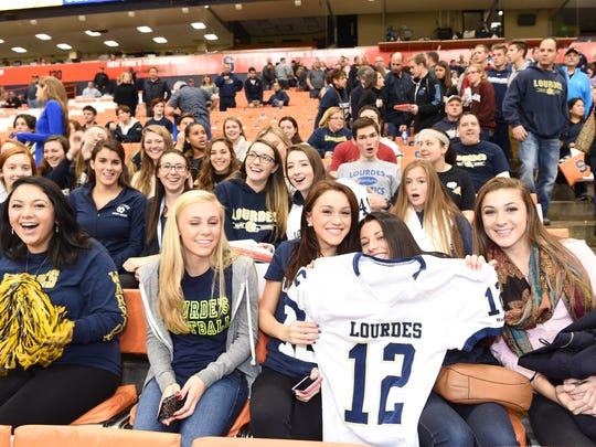 Fans from Poughkeepsie cheer on Our Lady of Lourdes
