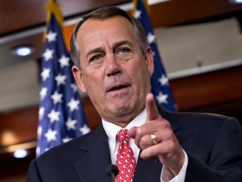 House Speaker John Boehner of Ohio vehemently rebukes conservative groups who oppose the pending bipartisan budget compromise during a news conference on Capitol Hill in Washington.