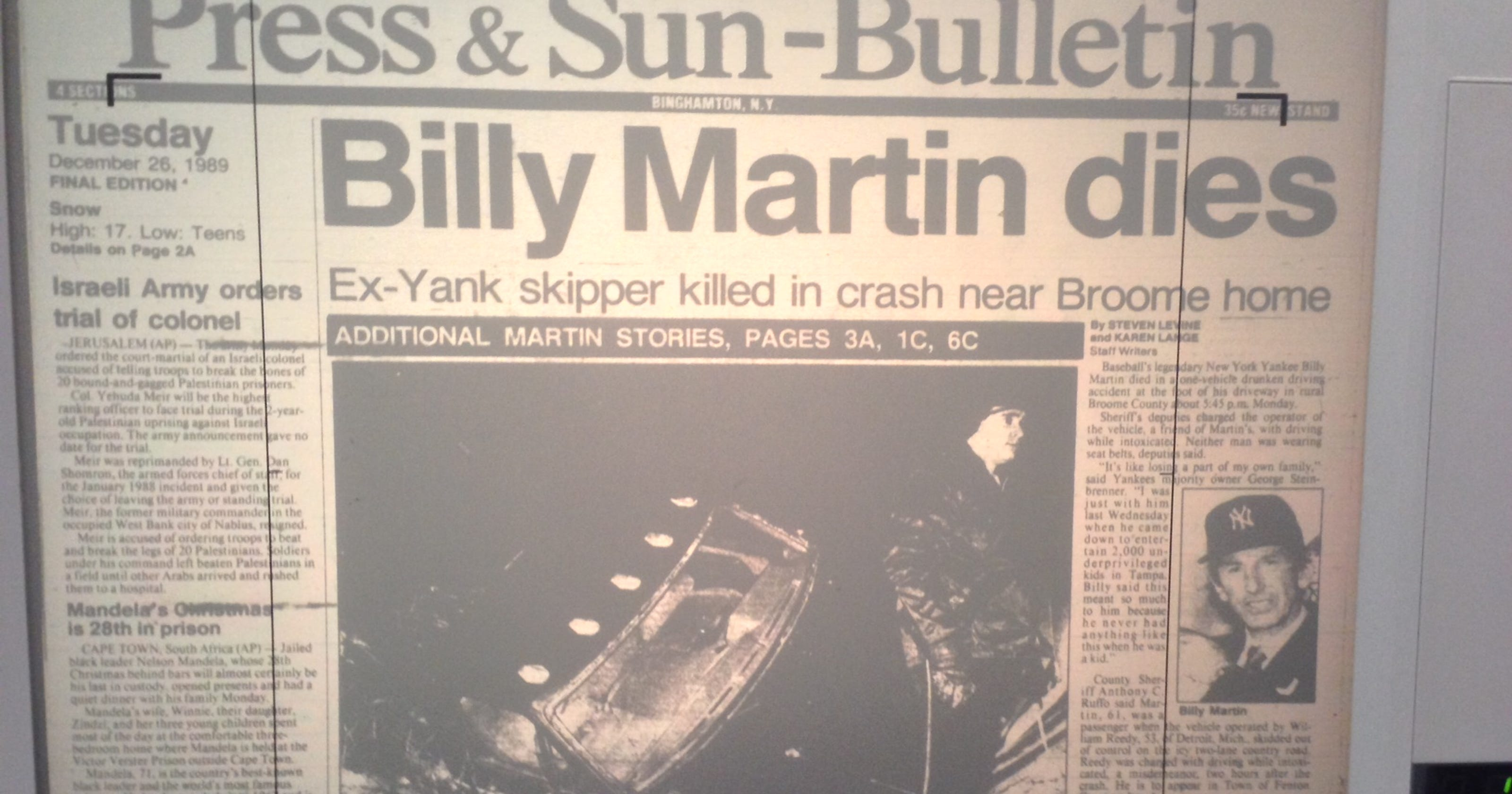Image result for Billy Martin car wreck
