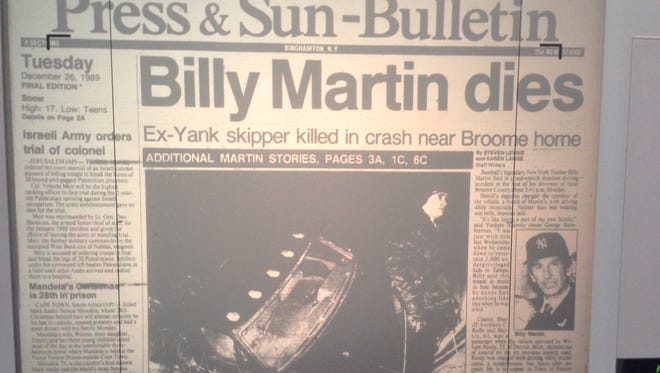 Front page from Dec. 26, 1989 Press & Sun-Bulletin.
