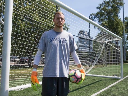 Monmouth University goalkeeper Eric Klenofsky, a senior