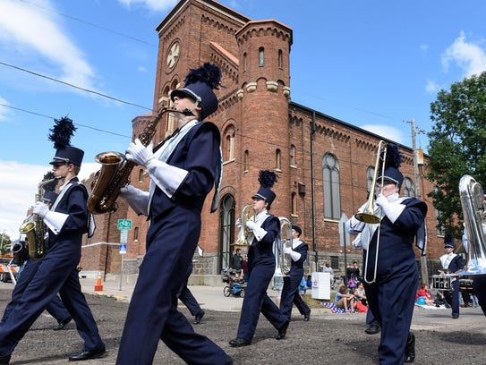Solar Sound Marching Band members perform during the