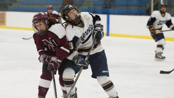 Northfield's Courtney Amell (6) and Essex's Tiffany Barnes (23) collide while battling for the puck during the girls hockey game between Northfield and Essex last week.