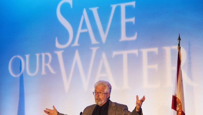 Win Everham, environmental studies professor at program leader at Florida Gulf Coast University, speaks at the Save our Water Summit on Wednesday, Oct. 26, 2016 at the Sanibel Harbour Resort in Fort Myers.