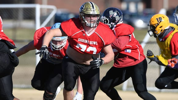 Greer offensive lineman Bradly Thompson (72) leads the way during practice at Dorman High School in preparation for Saturday's Shrine Bowl.