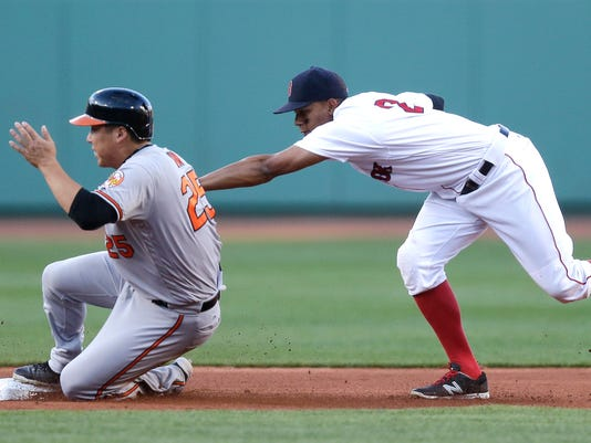 Boston Red Sox shortstop Xander Bogaerts, right, tags out Baltimore Orioles' Hyun Soo Kim, left, while trying to steal second during the first inning of a baseball game at Fenway Park, Wednesday, June 15, 2016, in Boston. (AP Photo/Charles Krupa)