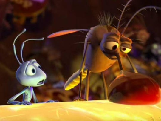 """Surface tension: a 'Bloody Mary,' mosquito-style, in """"A Bug's Life."""""""
