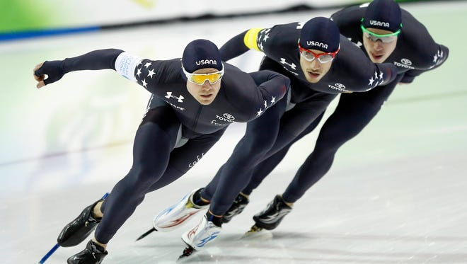 Joey Mantia (left), Emery Lehman (center) and Brian Hansen are among the Americans struggling at the World Cup long-track speedskating event in Kearns, Utah, this weekend.
