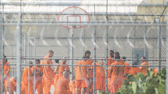 Inmates at Arizona State Prison Complex-Kingman in early July, following riots at the facility.