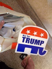 A 'NJ for Trump' fan is among the items in swag bags