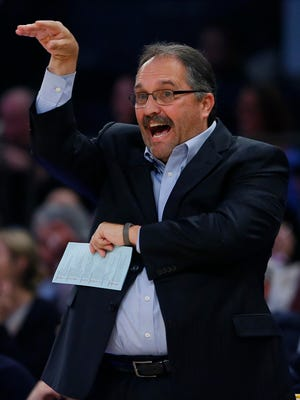 Detroit Pistons coach Stan Van Gundy reacts against the New York Knicks on Nov. 16, 2016, at Madison Square Garden.