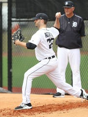 Detroit Tigers pitcher A.J. Achter throws during the