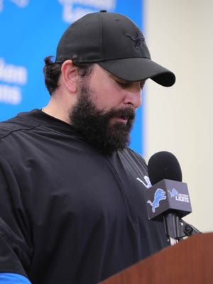Lions head coach Matt Patricia answers questions about a dismissed sexual assault case from 1996 on Thursday in Allen Park.