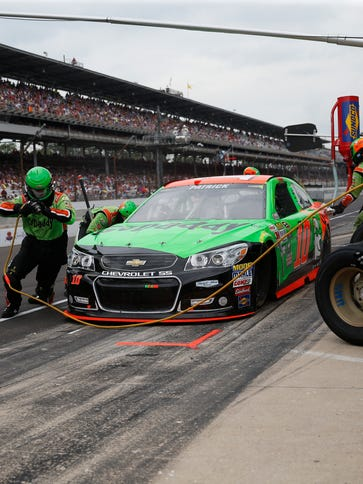 Danica Patrick pits during the Brickyard 400.