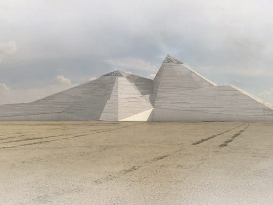 """A rendering of the """"Catacomb of Veils"""" shows the art installation in place in the Black Rock Desert."""