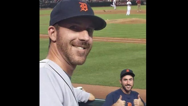 Chris Azanger, left, bears a striking resemblance to Tigers right-hander Justin Verlander, bottom right.