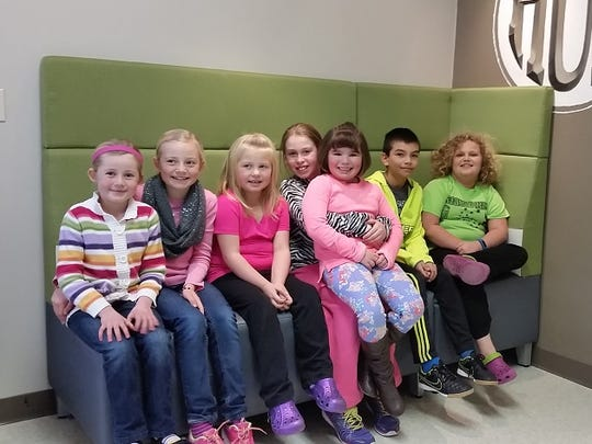 Central Wisconsin Christian top pledgers, from left: Ellie Perry, Kaelie Perry, Korbyn Wenzel, Sophia Drewa, Olivia Vander Werff, Jake Vander Werff and Cassidy Ritzema.
