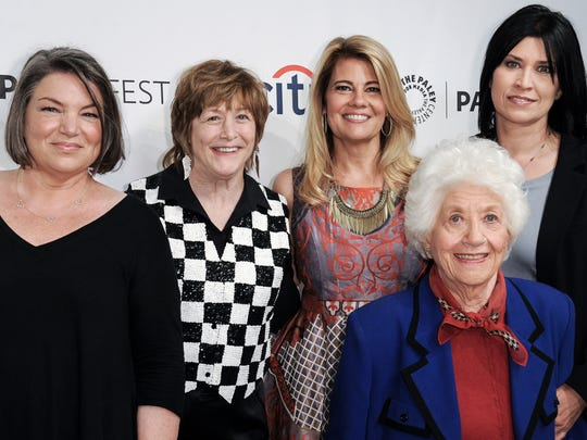 "Charlotte Rae (second from right) reunited with her ""Facts of Life"" co-stars Mindy Cohn (from left), Geri Jewell, Lisa Whelchel and Nancy McKeon at PaleyFest in Beverly Hills in 2014."